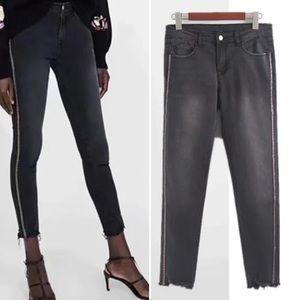 Zara Embellished  High Waisted Skinny  Jeans